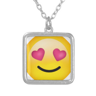 heart eyes smiley face silver plated necklace