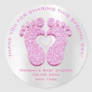 Heart Feet Baby Shower Favor Gift Thank Pink Gray Classic Round Sticker