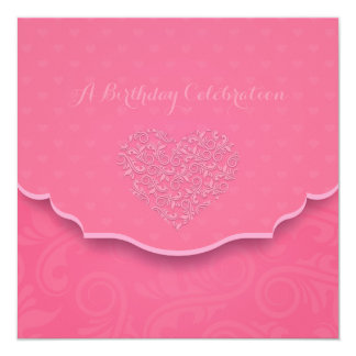 "Heart Filigree Birthday Party Invitation 5.25"" Square Invitation Card"