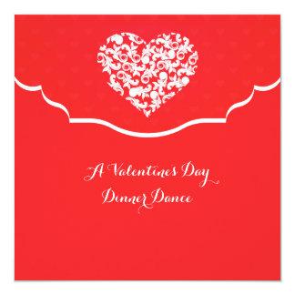 """Heart Filigree Red Valentine's Invitation 5.25"""" Square Invitation Card"""