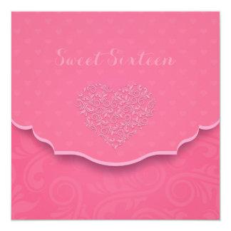"Heart Filigree Sweet Sixteen Invitation 5.25"" Square Invitation Card"