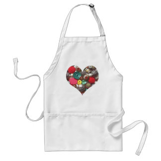 Heart Filled with Red and Green Buttons Adult Apron