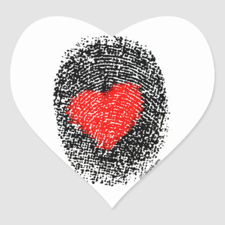 Heart Fingerprint Love Sticker Heart Shaped