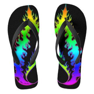 Heart Fire : Flip Flops : Neon Rainbow