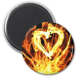 Heart Fire 6 Cm Round Magnet