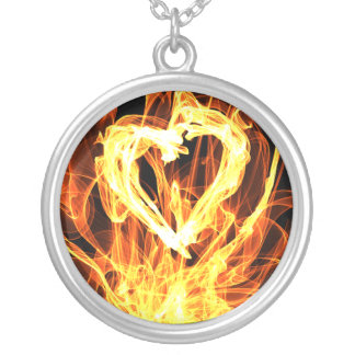Heart Fire Round Pendant Necklace