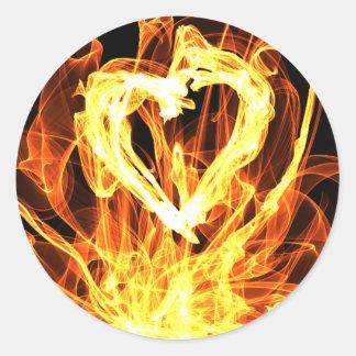 Heart Fire Round Sticker