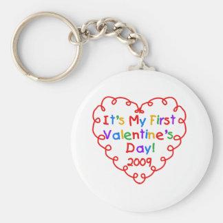 Heart First Valentine's Day 2009 Basic Round Button Key Ring