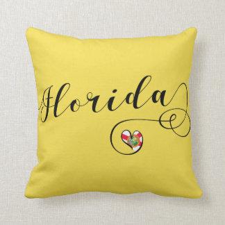 Heart Florida Pillow, Miami Floridian Cushion