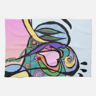 Heart flow Modern art Tea Towel
