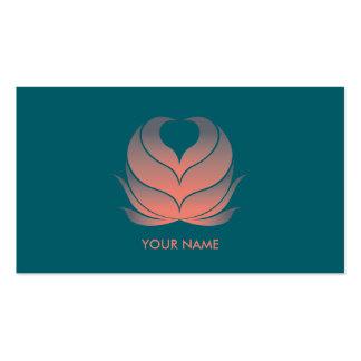 HEART FLOWER BUSINESS CARD CORAL GREEN
