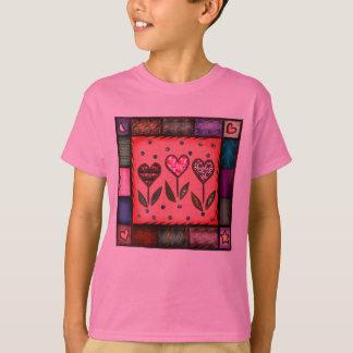 Heart Flower Quilt Kids T-shirt