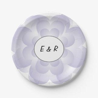 Heart Flower Wedding Lavender 7 Inch Paper Plate