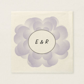 Heart Flower Wedding Lavender Disposable Napkin