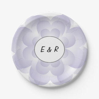 Heart Flower Wedding Lavender Paper Plate