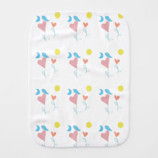Heart Flower With Moon Burp Cloth