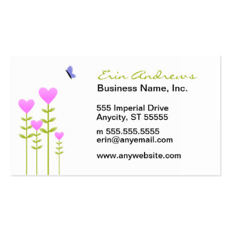 Heart Flowers and Butterfly business cards