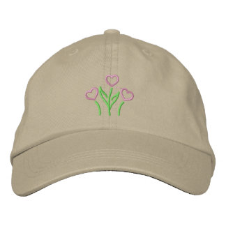 Heart Flowers Embroidered Hat