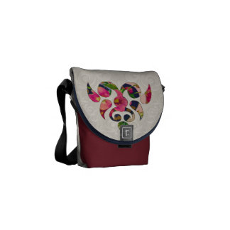 Heart & Flowers Motif Messenger Bag