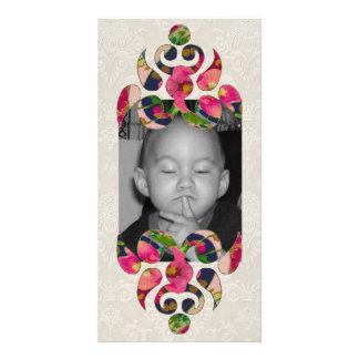 Heart & Flowers Motif Photo Card Template