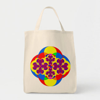 Heart Flowers Organic Grocery Tote Canvas Bag