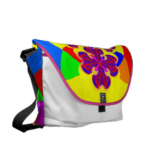 Heart Flowers Rickshaw Large Zero Messenger Bag