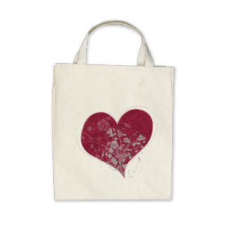 Heart & Flowers Tote Canvas Bag