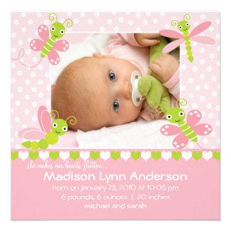 Heart Flutter Baby Girl Photo Announcement