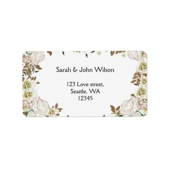 Heart Frame Greenery Roses Wedding Address Label