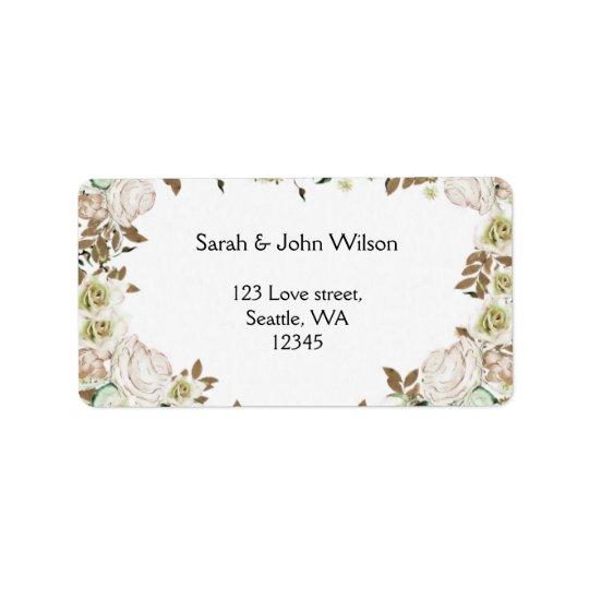 Heart Frame Greenery Roses Wedding Label