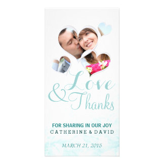 Heart frame simple thank you photo cards