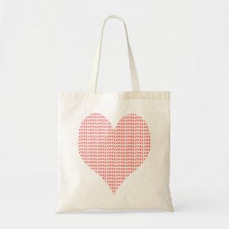 heart full of love bag, red on white budget tote bag