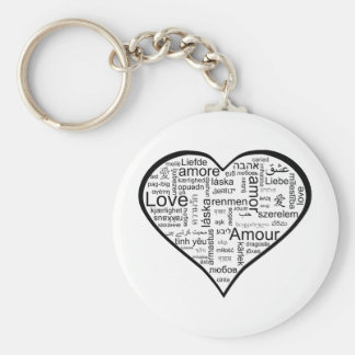 Heart full of Love in Different Languages Basic Round Button Key Ring