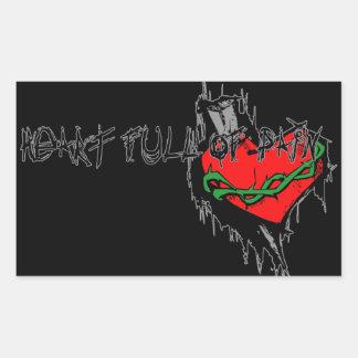 Heart Full Of Pain Rectangular Sticker