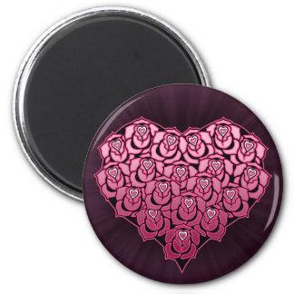 Heart Full of Roses Design 6 Cm Round Magnet