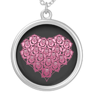 Heart Full of Roses Design Round Pendant Necklace