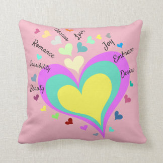 Heart Full of Words Throw Pillow