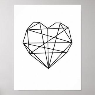 Heart Geometric Art Minimal Wall Decor black white Poster