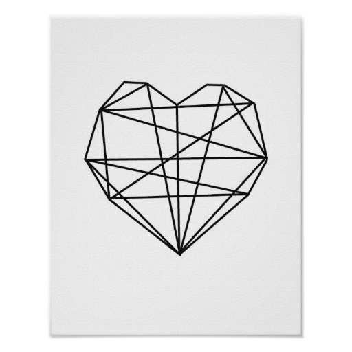 Heart geometric art minimal wall decor black white poster for Minimal art wall