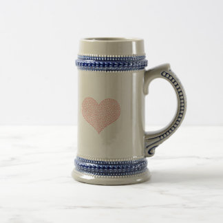 Heart - geometric  pattern - pink and white. beer stein