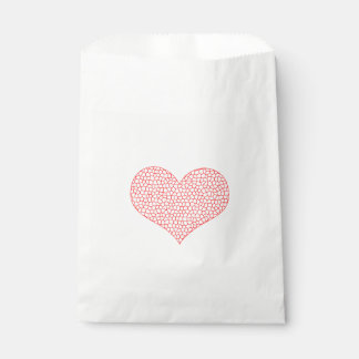 Heart - geometric  pattern - red and white. favour bag