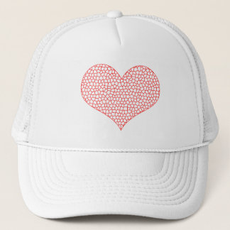 Heart - geometric  pattern - red and white. trucker hat