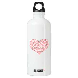 Heart - geometric  pattern - red and white. water bottle