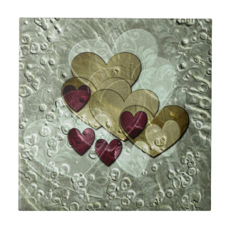 Heart Gifts | Gold and Ruby Small Square Tile
