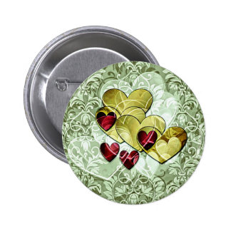 Heart Gifts Green And Gold Pinback Button