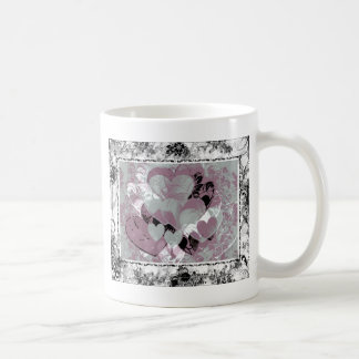 Heart Gifts | Hearts in Black lace Basic White Mug