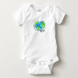 Heart Globe Stethoscope Earth World Health Concept Baby Onesie