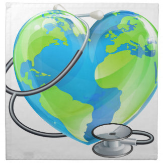 Heart Globe Stethoscope Earth World Health Concept Napkin