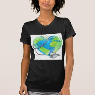 Heart Globe Stethoscope Earth World Health Concept T-Shirt