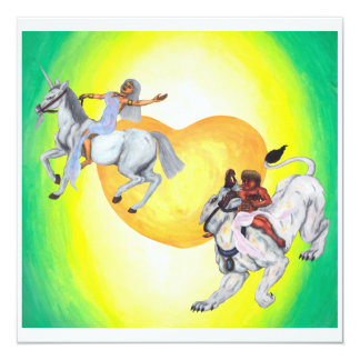 Heart God riding Lioness Goddess riding  Unicorn Card